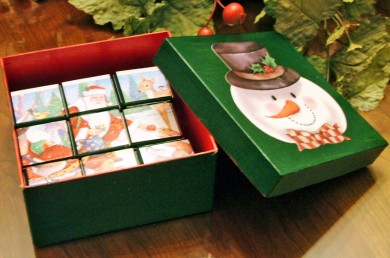 Make a puzzle box using pretty holiday cards.