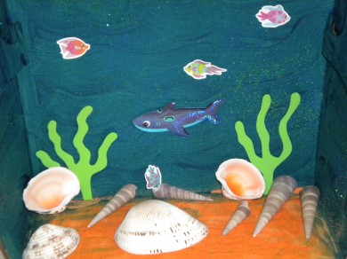 An Underwater Diorama made from Seashells