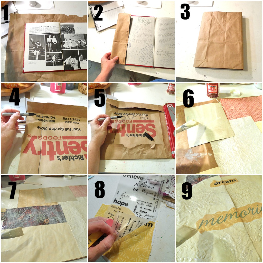 How To Book Cover Paper Bag ~ Make a decoupage book cover paper